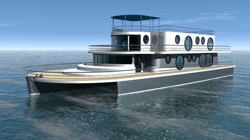Kéréon 78'-100' Houseboat trimaran moteur