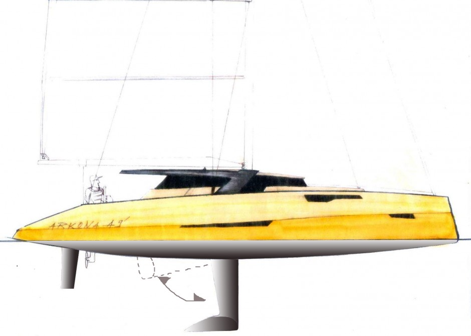 Arkona Mono Voile 49 profil par Luc Simon architecte naval & designer