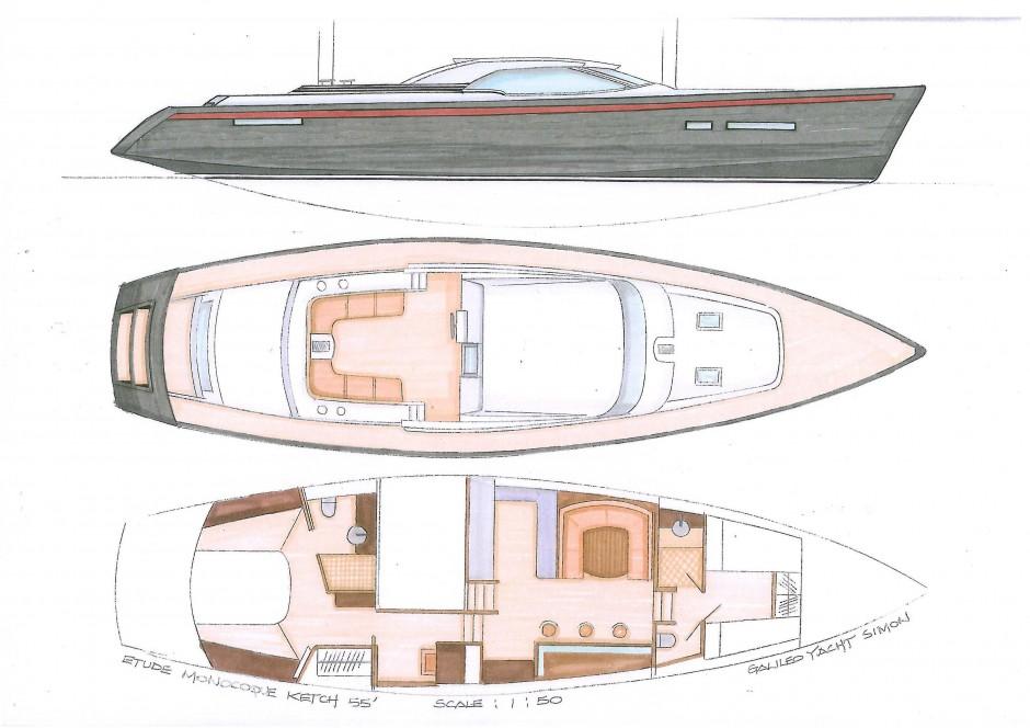 Kéréon 55' monocoque voile par Luc Simon architecte naval & designer