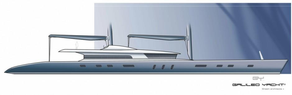 Galiléo Yacht monocoque Voile 200 pieds par Luc Simon architecte naval & designer