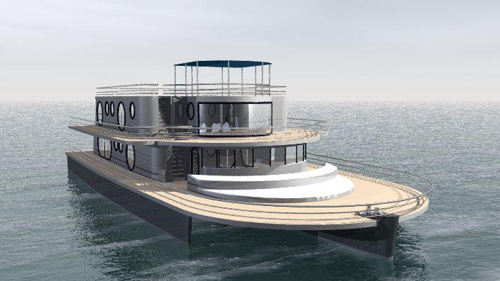 Kéréon 78'-100' Houseboat trimaran moteur : design Luc Simon (architecte naval).