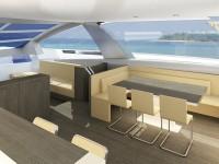 Design intérieur Arkona yacht 67' : mobilier deck-salon